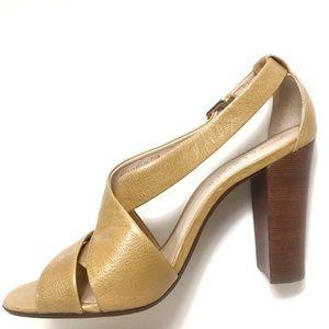 Talbots Yellow Mustard Gold Color Block Heels